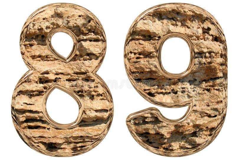 数字89,八十九,在白色,自然石灰石, 3 库存例证