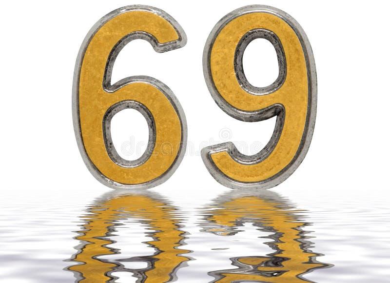 数字69,六十九,反射水表面上,被隔绝 向量例证
