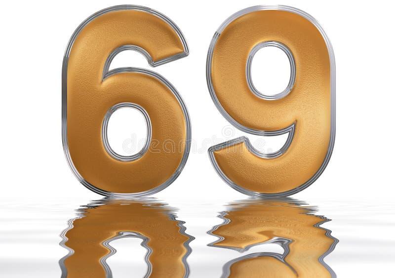 数字69,六十九,反射水表面上, 库存例证