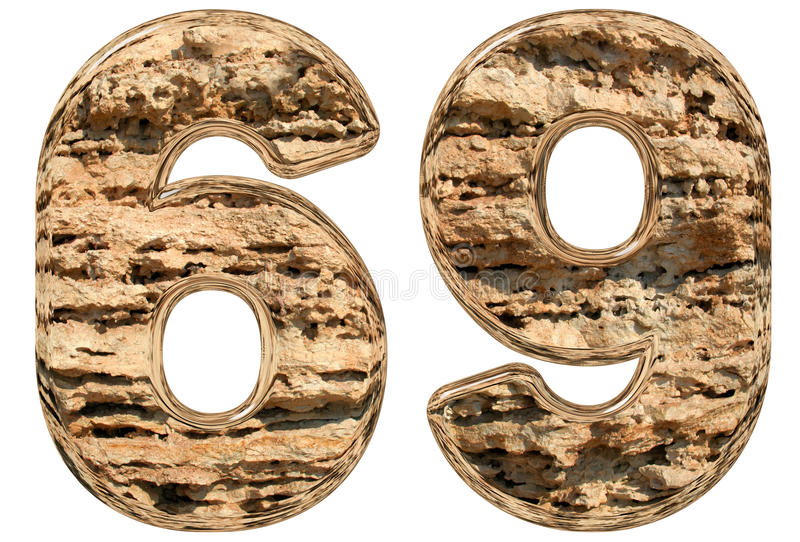 数字69,六十九,在白色,自然石灰石, 3d 皇族释放例证