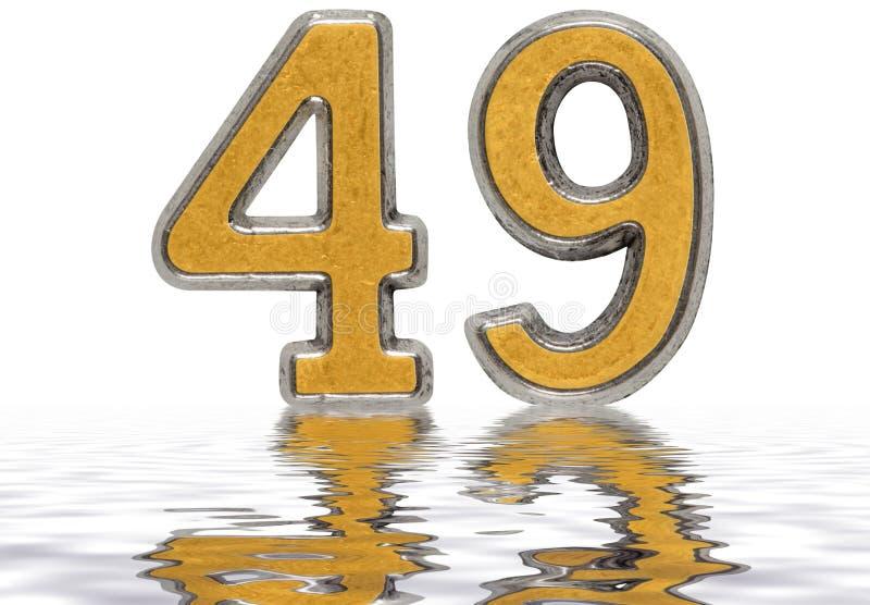 数字49,四十九,反射水表面上,被隔绝 皇族释放例证