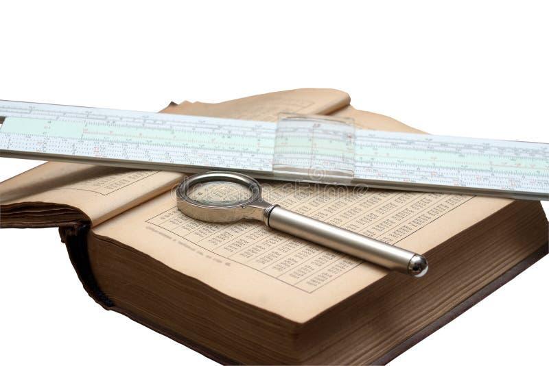 数学、放大镜和计算尺isola手册  库存图片