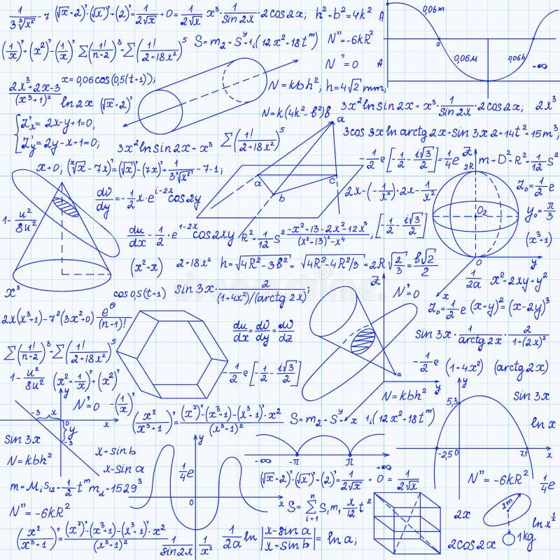 数学与几何图,剧情和等式的传染媒介无缝的样式,手写在栅格习字簿纸 皇族释放例证