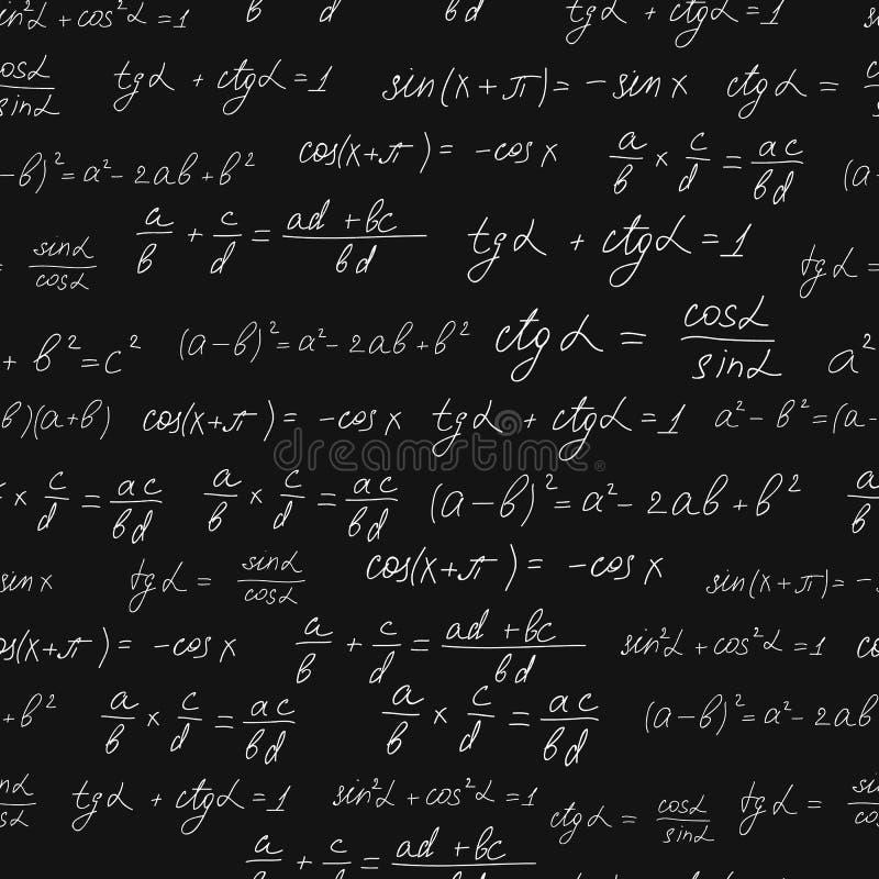 数学公式无缝的样式 空白白垩 向量例证