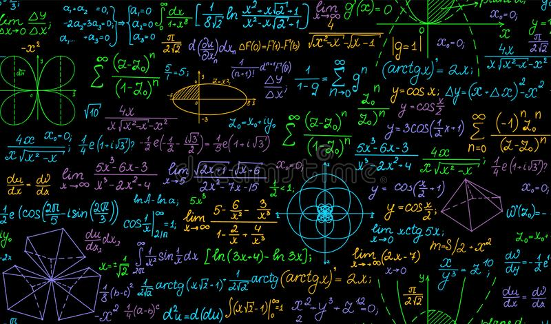 数学多彩多姿的与手写的惯例,等式,任务解答的传染媒介无缝的背景 皇族释放例证