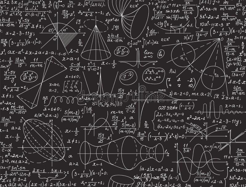数学教育与手写的图、代数演算和等式的传染媒介无缝的样式 库存例证