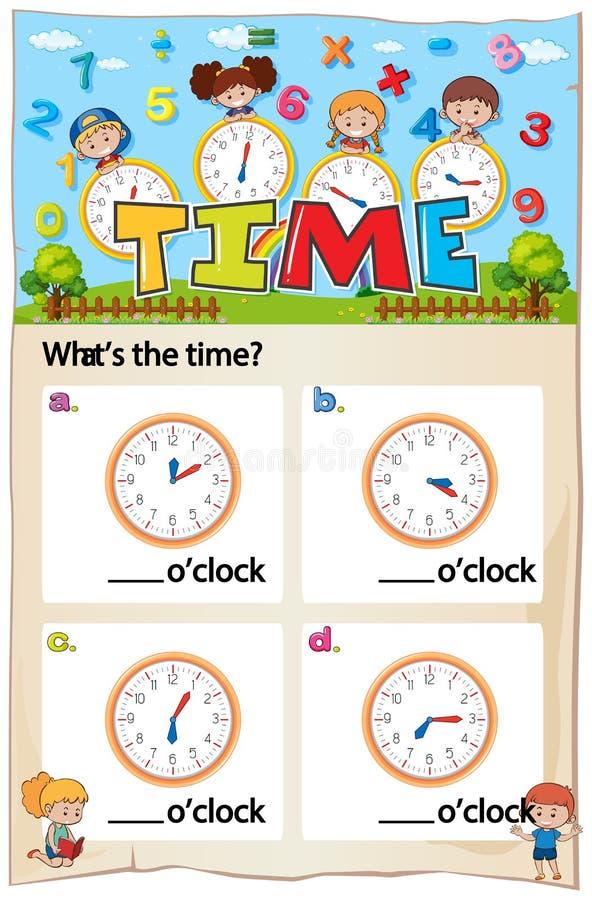 数学活页练习题与图片的时间章节 库存例证