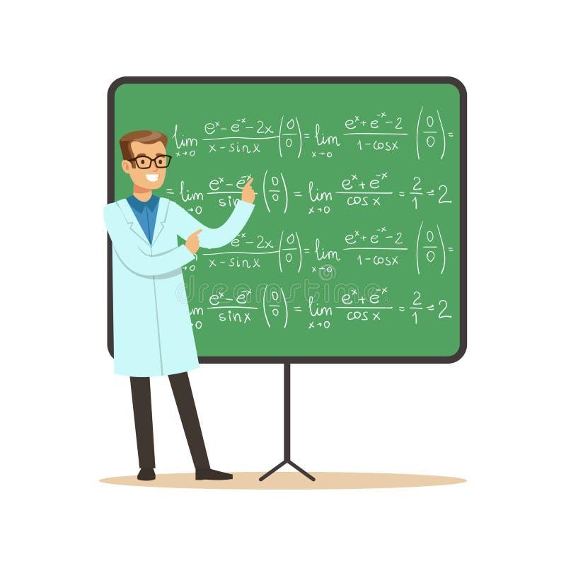 数学的医生在有惯例的黑板旁边站立 库存例证