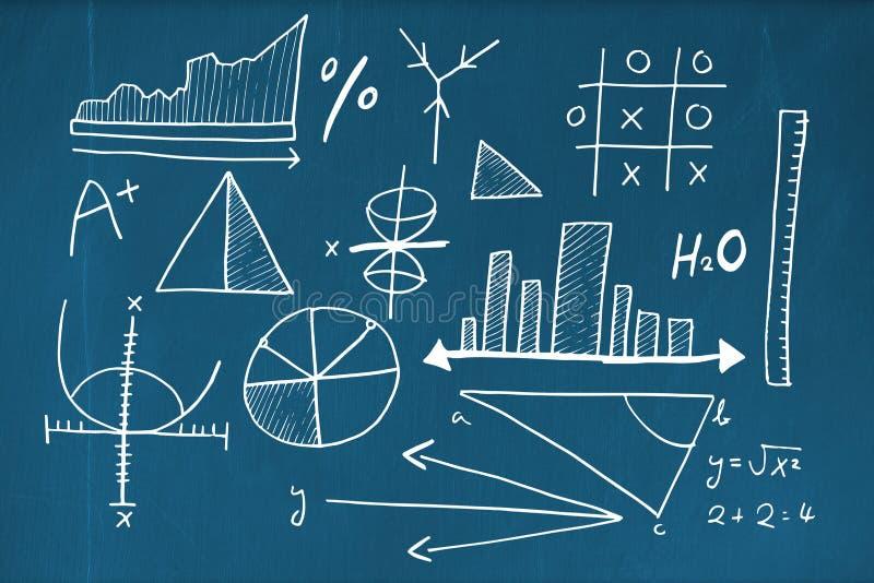 数学等式的综合图象与长条图的 向量例证