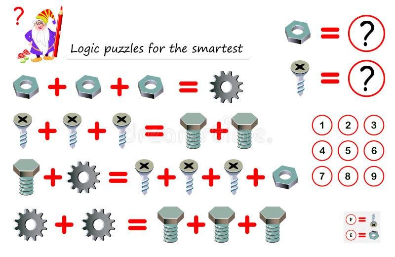 数学逻辑最聪明的难题比赛解决数字对应于其中每一个细节的例子和计数 向量例证