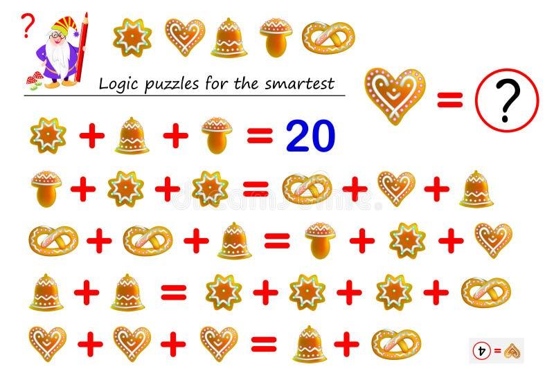数学逻辑最聪明的难题比赛解决数字对应于其中每一个蛋糕的例子和计数 库存例证