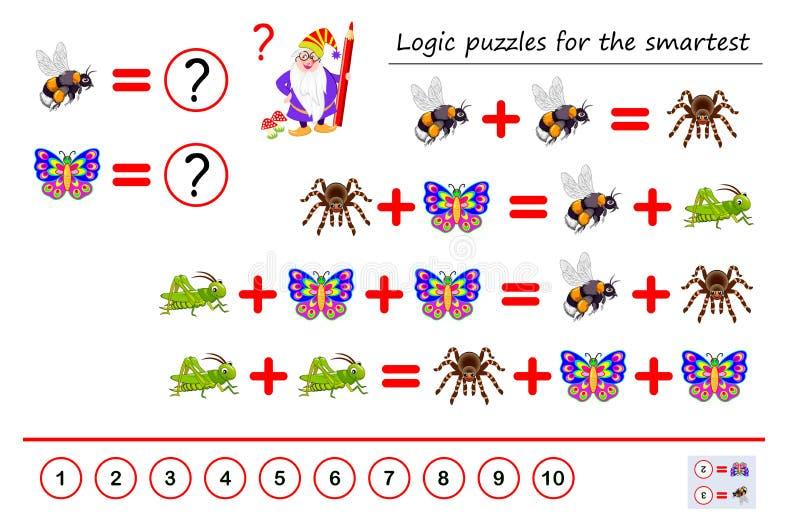 数学逻辑最聪明的难题比赛解决数字对应于其中每一只昆虫的例子和计数 皇族释放例证
