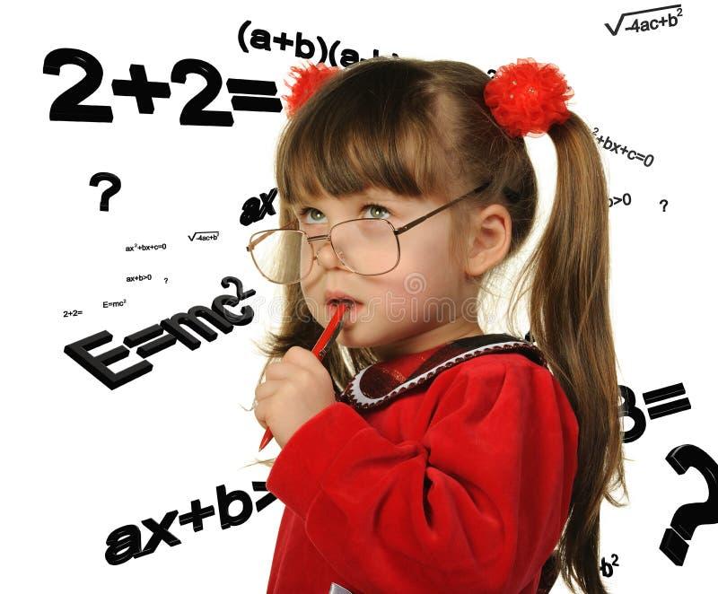数学配方的女孩 免版税图库摄影