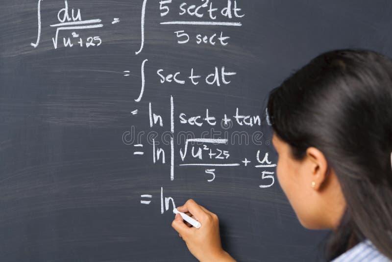 数学问题学员工作 库存图片