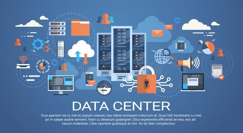 数据中心云彩计算机连接主服务器数据库同步技术 皇族释放例证