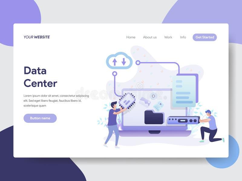 数据中心例证概念登陆的页模板  网页设计的现代平的设计观念网站和机动性的 皇族释放例证