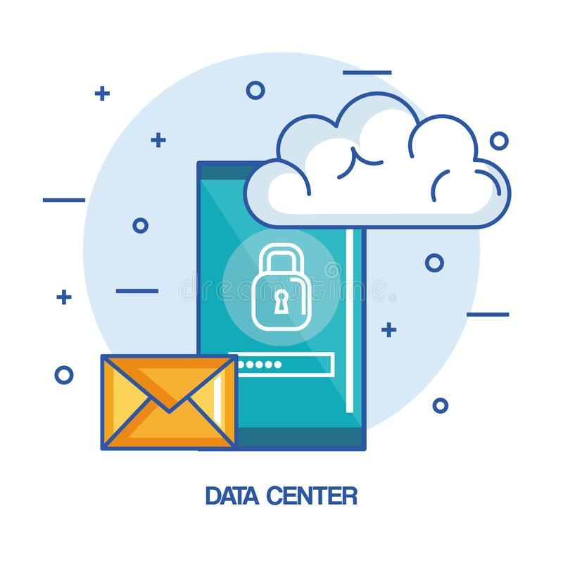 数据中心手机电子邮件云彩技术主持 向量例证