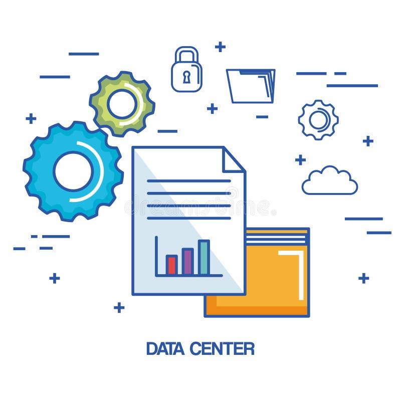 数据中心文件夹文件档案安全云彩网络 向量例证