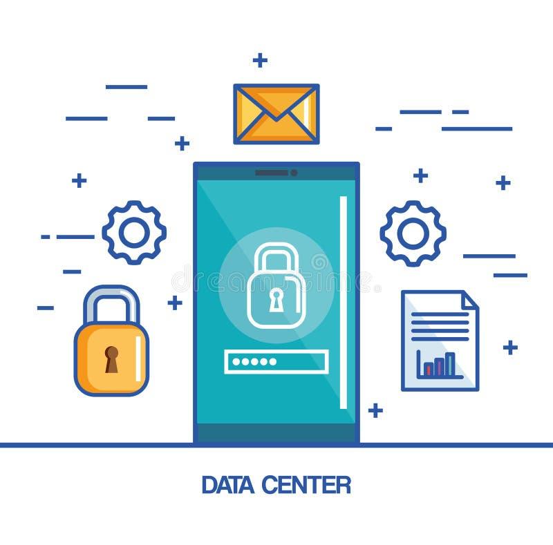 数据中心智能手机保护网上代码邮件和文件 向量例证