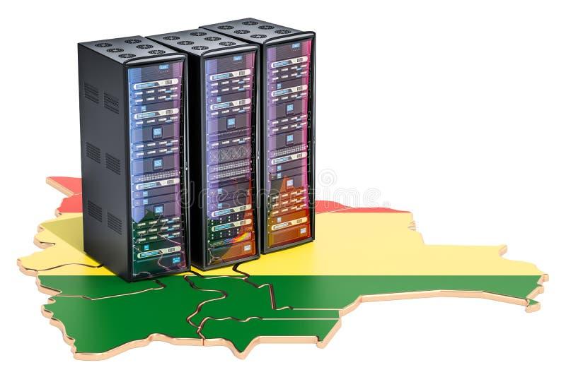 数据中心服务器在玻利维亚概念, 3D折磨翻译 皇族释放例证
