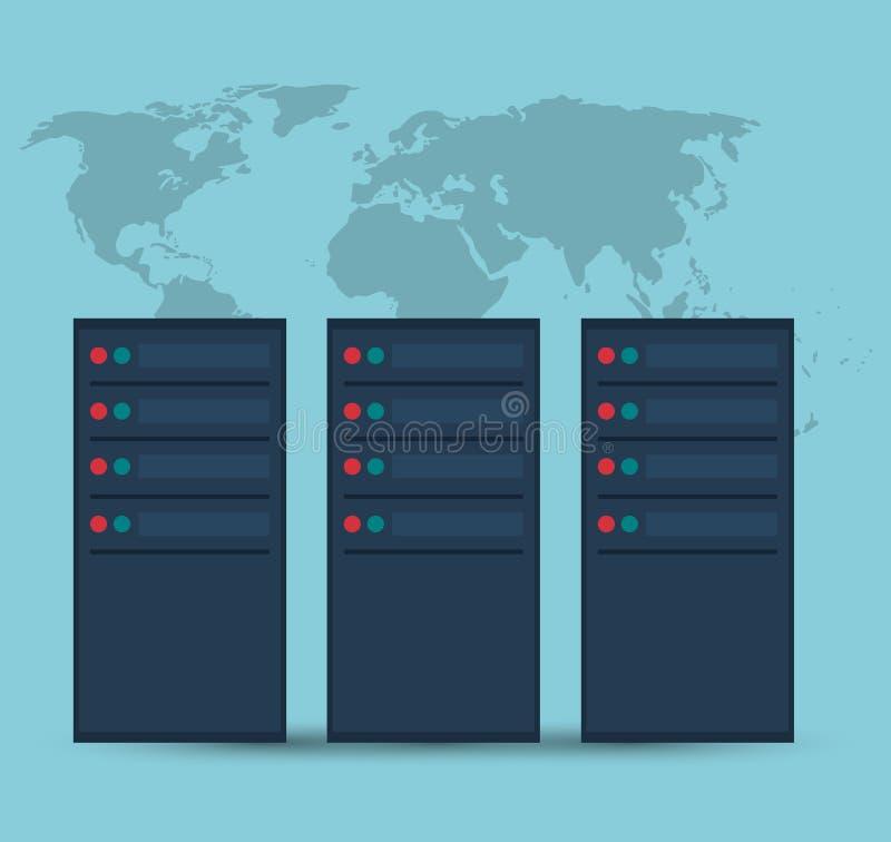 数据中心服务器设备技术 库存例证