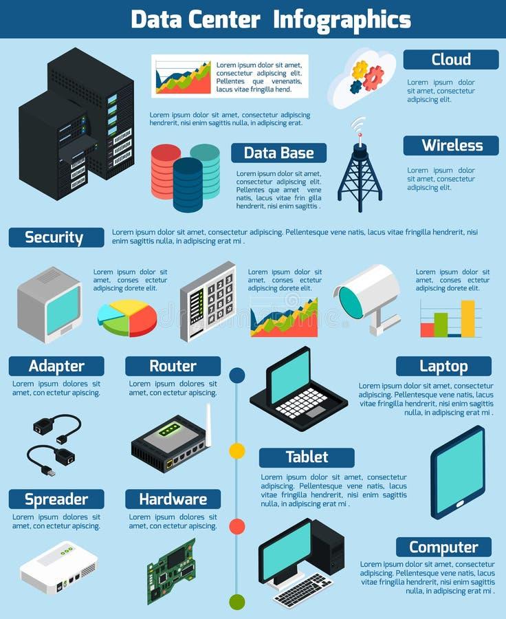 数据中心等量Infographics 向量例证