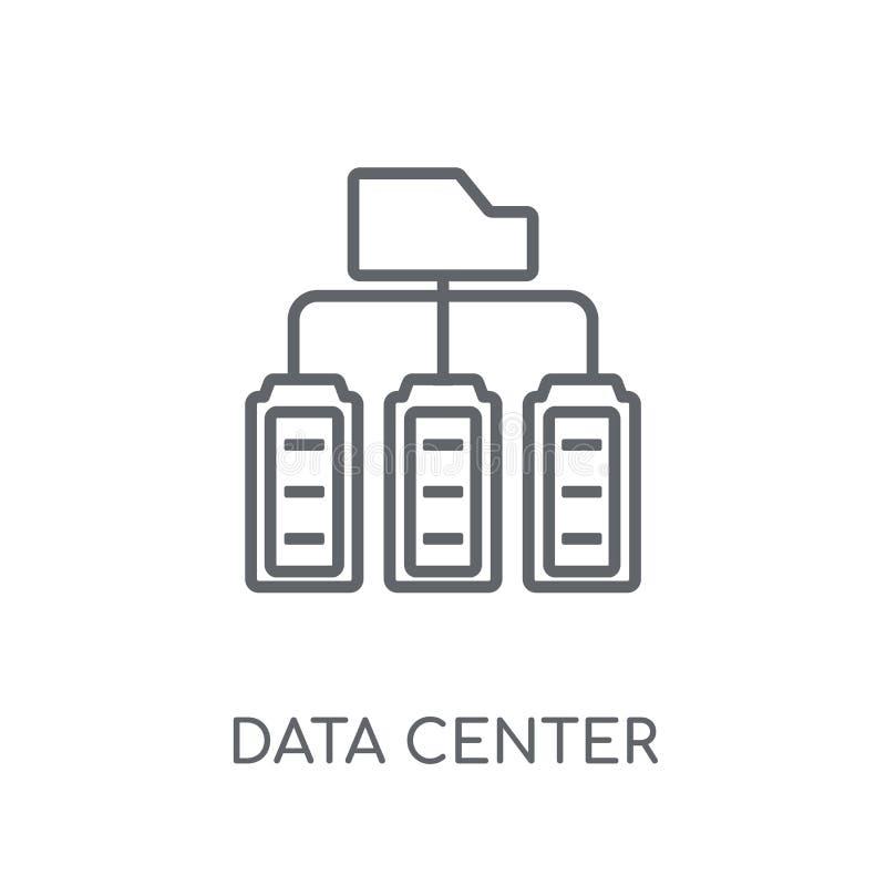 数据中心线性象 现代概述数据中心商标概念 向量例证