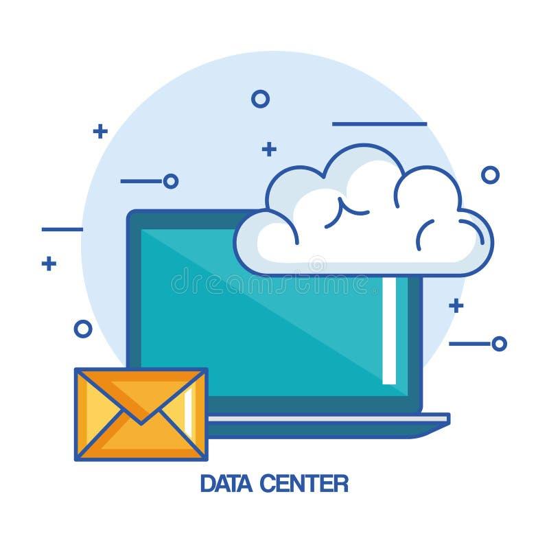 数据中心膝上型计算机电子邮件云彩技术 库存例证