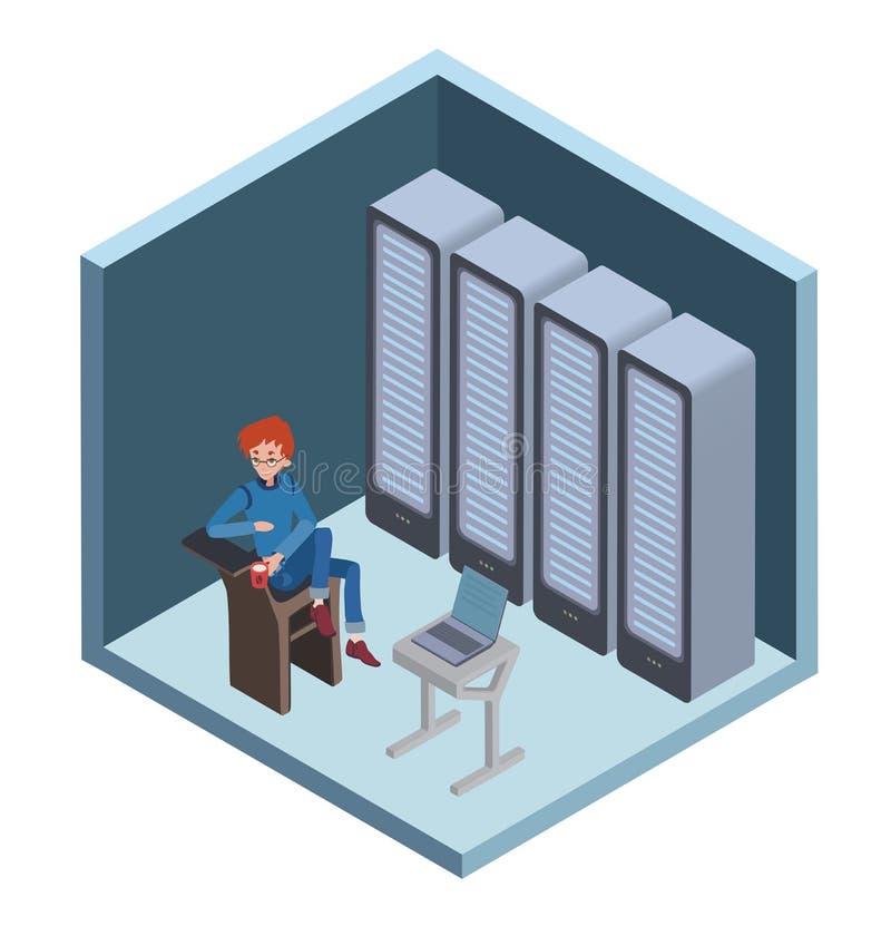 数据中心象,系统管理员 供以人员坐在计算机在服务器屋子里 在等量的传染媒介例证 向量例证