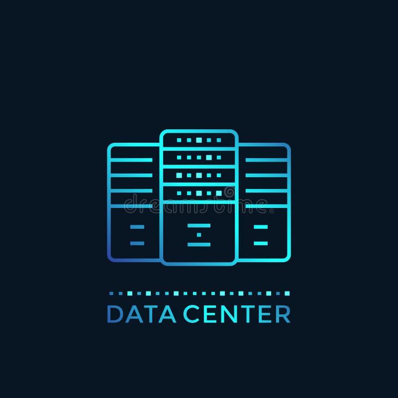 数据中心,服务器室,主持传染媒介 向量例证