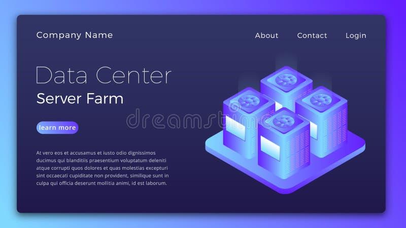 数据中心 Datacenter服务器农厂等量概念 现代数据中心英雄图象设计 库存例证