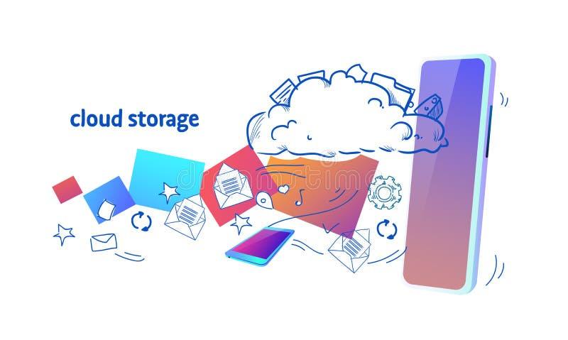 数据云彩存贮流动app网上同步安全数据库概念水平的剪影乱画 皇族释放例证