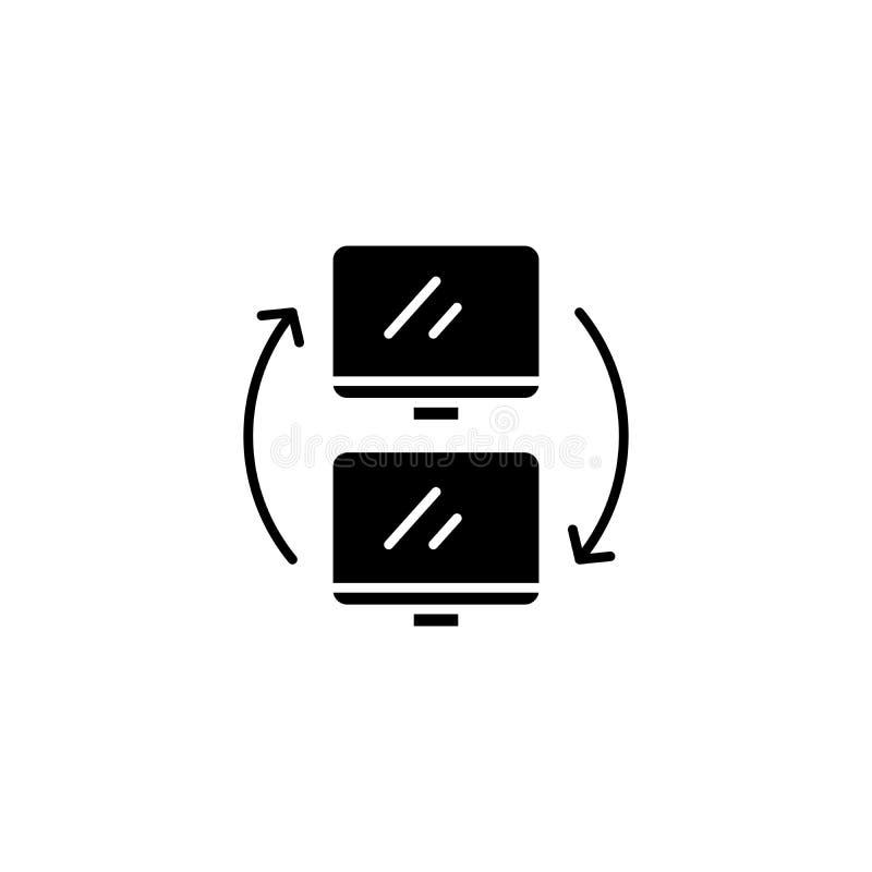 数据交换的黑象概念 数据交换的平的传染媒介标志,标志,例证 皇族释放例证