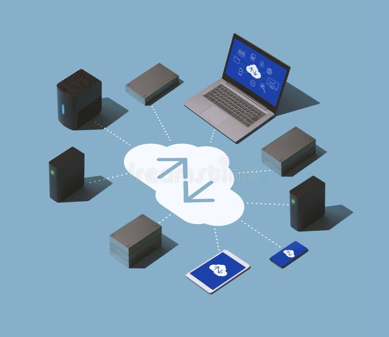 数据传输,存贮和主持解答 向量例证