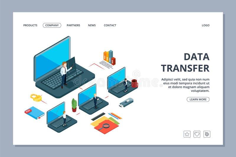 数据传送着陆页 等量信息传递网页 企业队,局部网络 向量例证