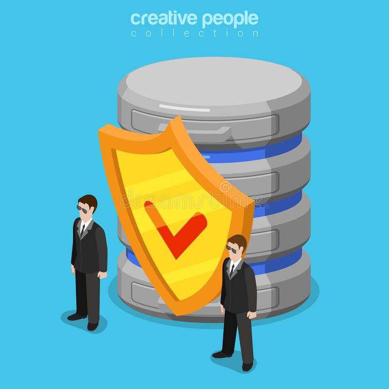 数据保密软件安全服务器平的等量传染媒介3d 库存例证