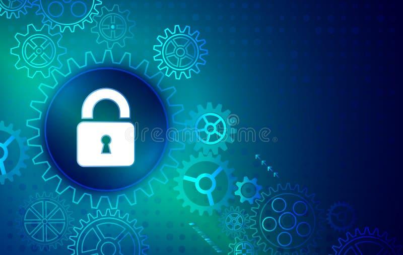 数据保护、保密性和互联网安全概念 向量例证