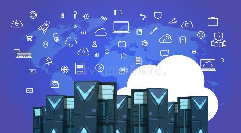数据保护云彩同步服务器集中与主持infographic,网络和数据库,互联网中心 向量例证