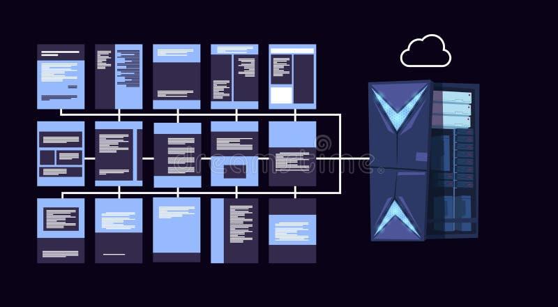 数据保护云彩服务器集中与主持infographic,网络和数据库,互联网中心,通信 向量例证