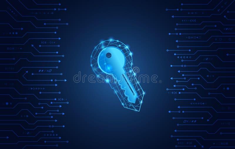 数据保护保密性概念 关键象和互联网技术网络连接 库存例证