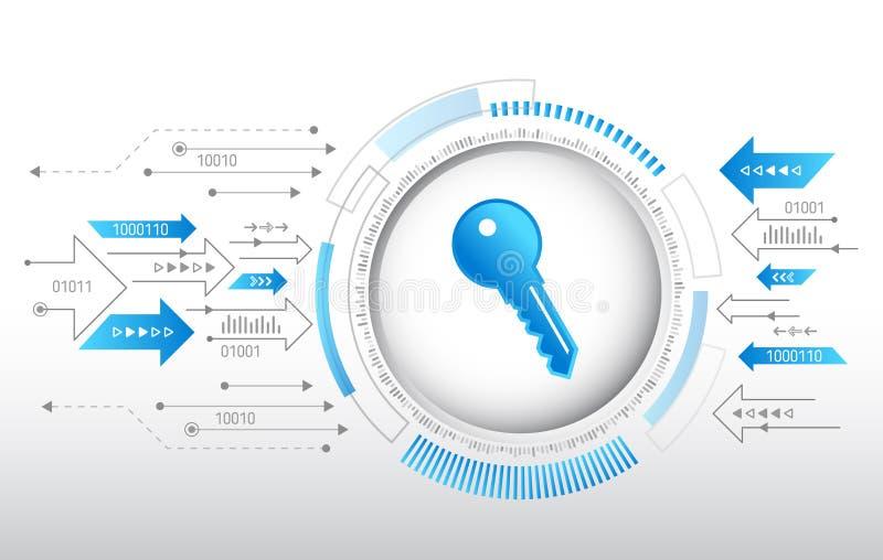 数据保护保密性概念 关键象和互联网技术网络连接 向量例证