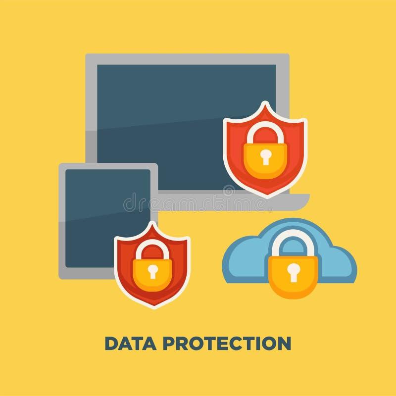 数据保护在黄色在互联网安全的文件夹锁隔绝的 库存例证