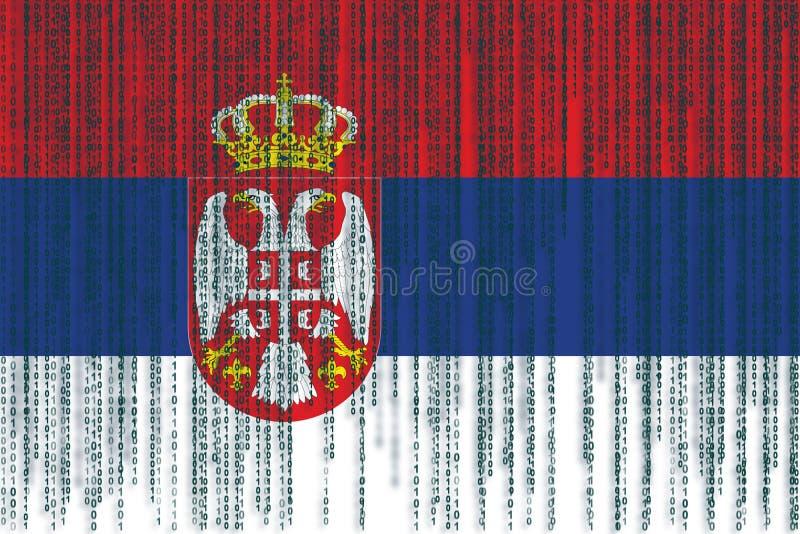 数据保护塞尔维亚人旗子 与二进制编码的塞尔维亚旗子 皇族释放例证