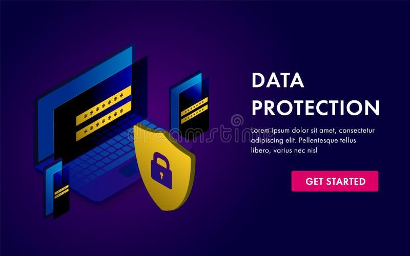 数据保护概念模板 膝上型计算机、片剂、流动检查和软件通入数据如机要 对网站横幅 库存例证
