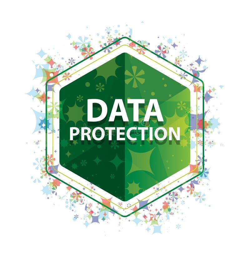 数据保护花卉植物样式绿色六角形按钮 向量例证