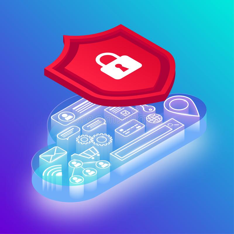数据保护霓虹传染媒介例证 皇族释放例证
