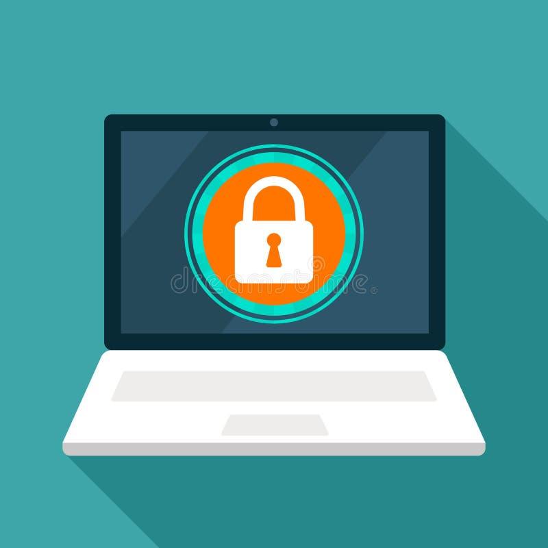 数据保护,互联网安全概念 网络对用户是安全 锁屏幕,膝上型计算机屏幕 r 向量例证