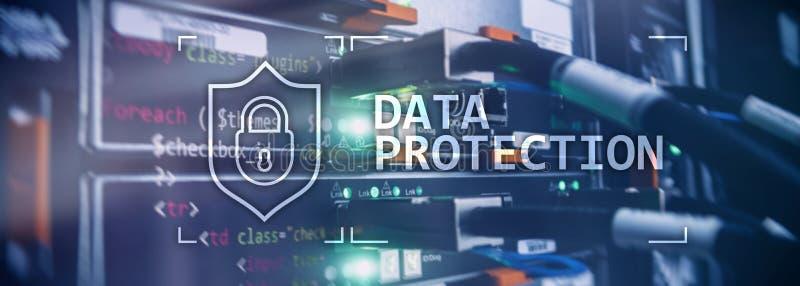 数据保护,网络安全,信息保密性 互联网和技术概念 服务器室背景 向量例证