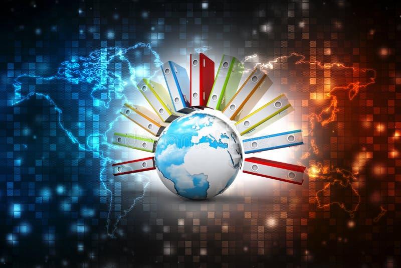 数据全球存贮 膝上型计算机和文件柜有圆环包扎工具的 3d回报 皇族释放例证