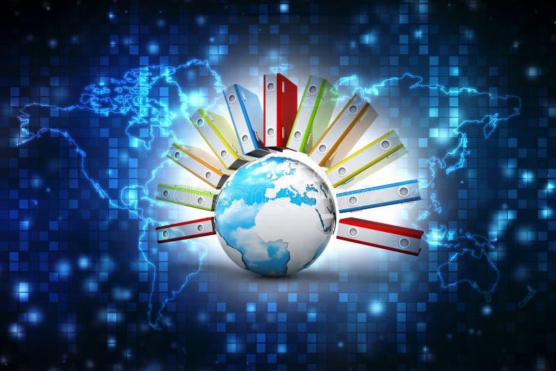 数据全球存贮 膝上型计算机和文件柜有圆环包扎工具的 3d回报 库存例证